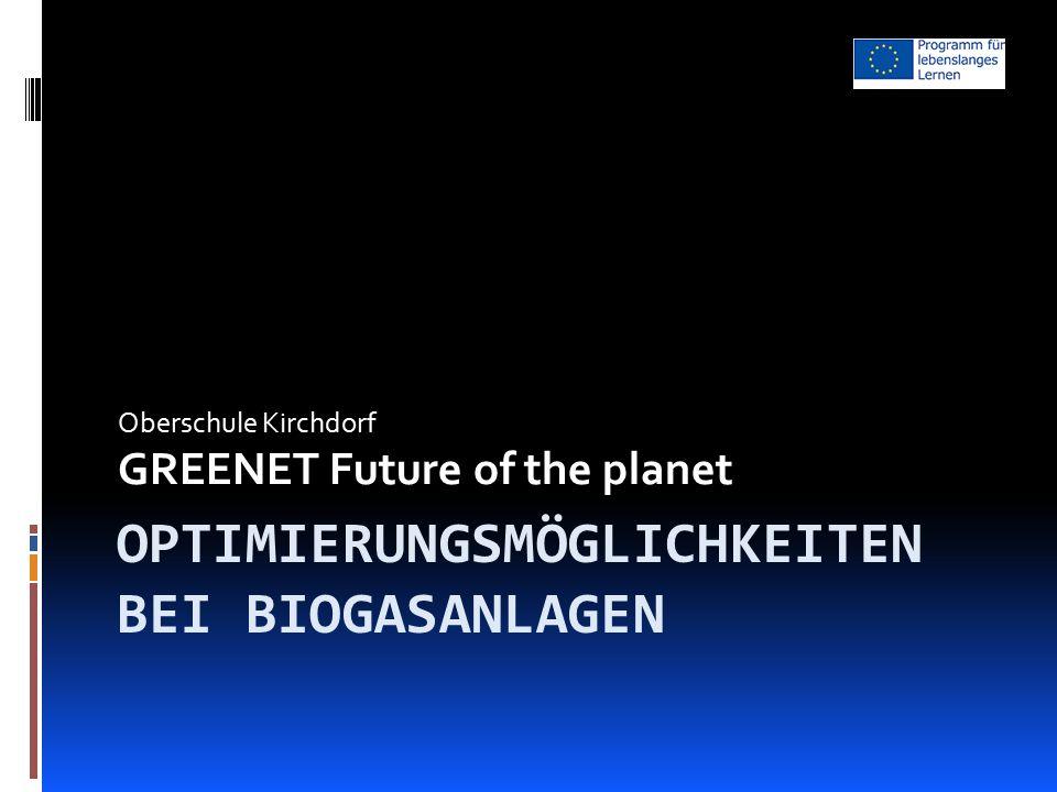OPTIMIERUNGSMÖGLICHKEITEN BEI BIOGASANLAGEN Oberschule Kirchdorf GREENET Future of the planet