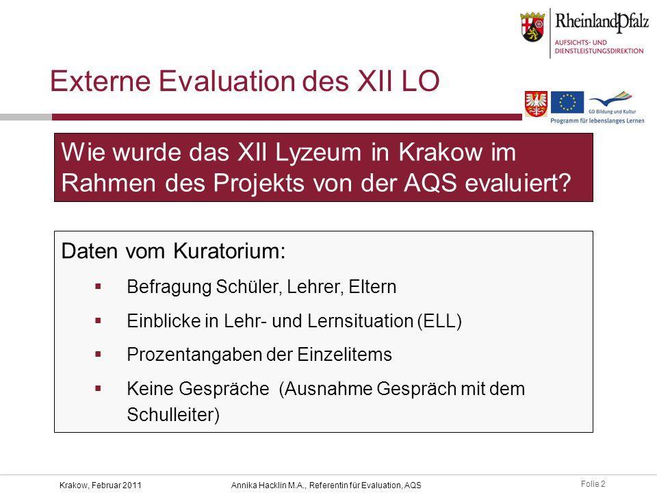 Folie 2 Krakow, Februar 2011Annika Hacklin M.A., Referentin für Evaluation, AQS Externe Evaluation des XII LO Daten vom Kuratorium:  Befragung Schüle