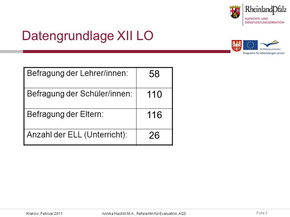 Folie 3 Krakow, Februar 2011Annika Hacklin M.A., Referentin für Evaluation, AQS Datengrundlage XII LO Befragung der Lehrer/innen: 58 Befragung der Sch