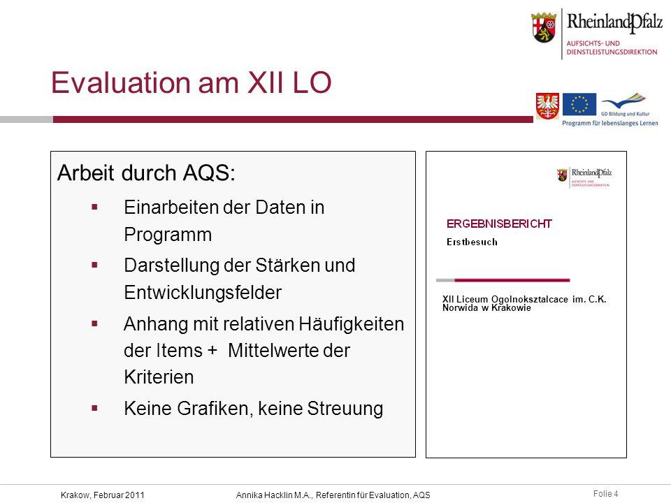 Folie 25 Krakow, Februar 2011Annika Hacklin M.A., Referentin für Evaluation, AQS AQS-Rückmeldung – und dann.