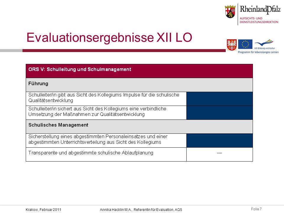 Folie 8 Krakow, Februar 2011Annika Hacklin M.A., Referentin für Evaluation, AQS Evaluationsergebnisse XII LO Indikatoren