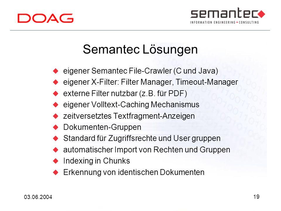 19 03.06.2004 Semantec Lösungen eigener Semantec File-Crawler (C und Java) eigener X-Filter: Filter Manager, Timeout-Manager externe Filter nutzbar (z.B.