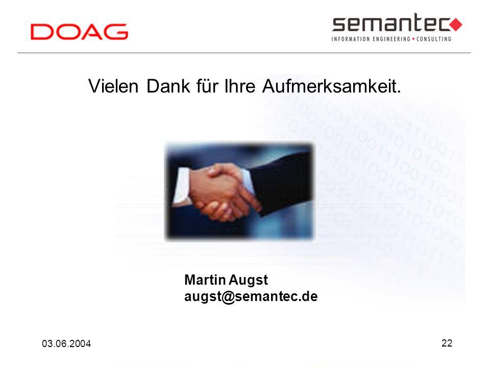 22 03.06.2004 Vielen Dank für Ihre Aufmerksamkeit. Martin Augst augst@semantec.de