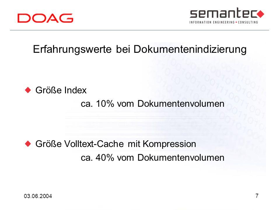 7 03.06.2004 Erfahrungswerte bei Dokumentenindizierung Größe Index ca.