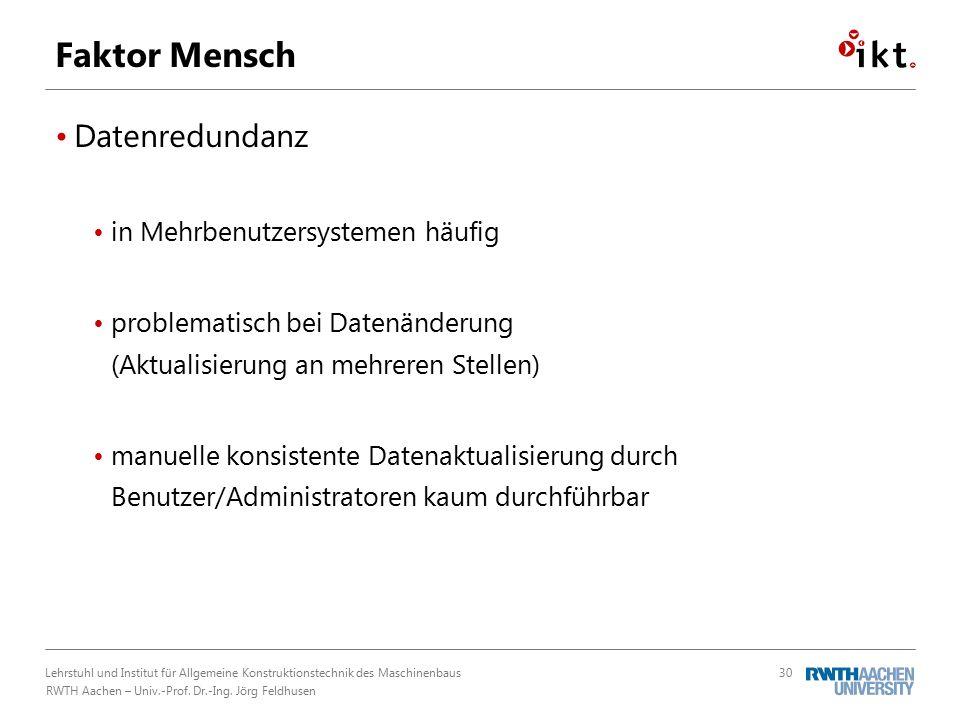 Lehrstuhl und Institut für Allgemeine Konstruktionstechnik des Maschinenbaus RWTH Aachen – Univ.-Prof.