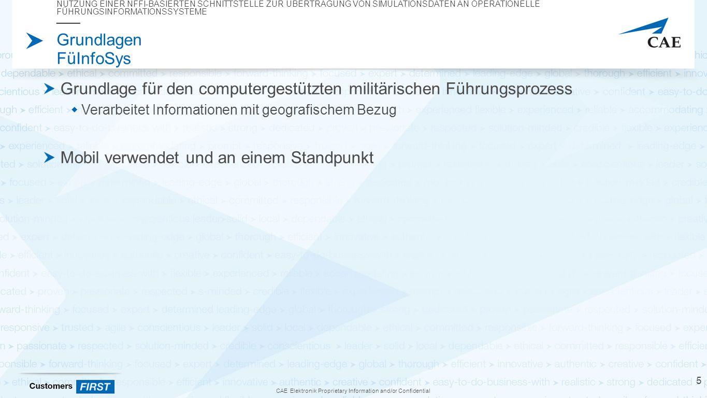 """CAE Elektronik Proprietary Information and/or Confidential Grundlagen NFFI Wurde 2005 von der """"Allied Command Transformation initiiert XML basierte Übertragung Versionen 1.0 bis 1.3  1.3 nur mit getesteten Spezifikationen (""""core )  """"experimental Spezifikation enthält experimentelle Fähigkeiten NUTZUNG EINER NFFI-BASIERTEN SCHNITTSTELLE ZUR ÜBERTRAGUNG VON SIMULATIONSDATEN AN OPERATIONELLE FÜHRUNGSINFORMATIONSSYSTEME 16"""