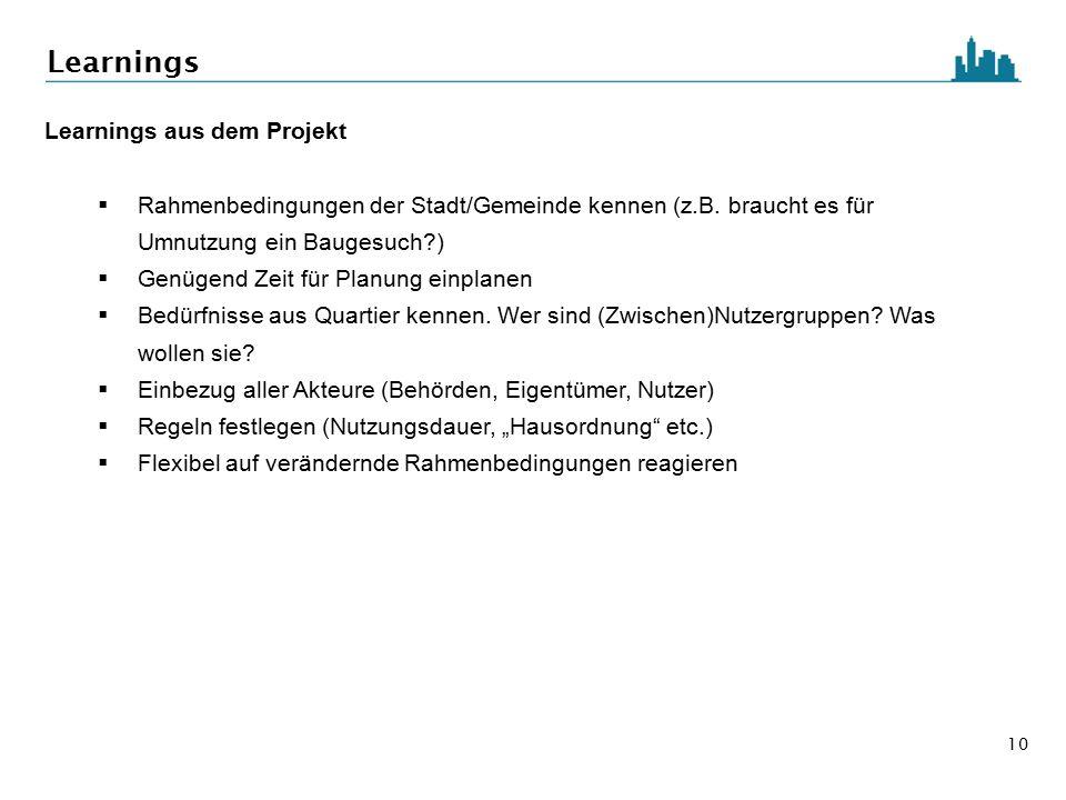 10 Learnings Learnings aus dem Projekt  Rahmenbedingungen der Stadt/Gemeinde kennen (z.B. braucht es für Umnutzung ein Baugesuch?)  Genügend Zeit fü