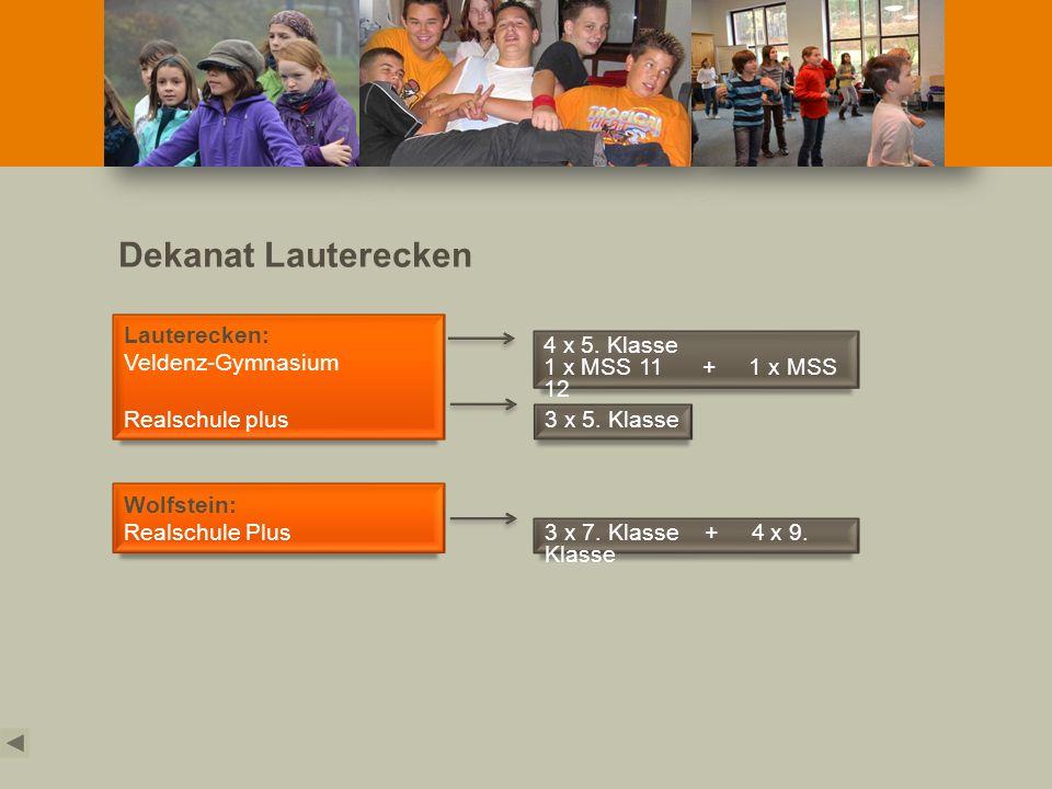 Dekanat Lauterecken Lauterecken: Veldenz-Gymnasium Realschule plus Wolfstein: Realschule Plus 4 x 5. Klasse 1 x MSS 11 + 1 x MSS 12 3 x 5. Klasse 3 x