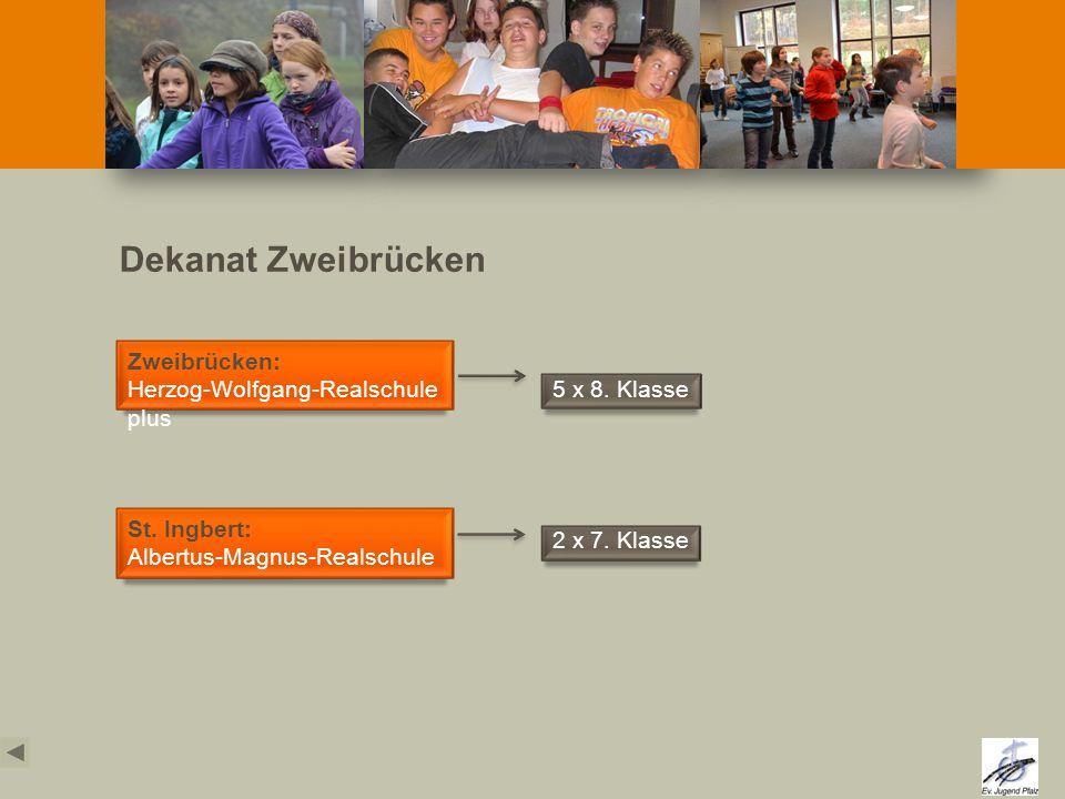 Dekanat Zweibrücken St. Ingbert: Albertus-Magnus-Realschule Zweibrücken: Herzog-Wolfgang-Realschule plus 2 x 7. Klasse 5 x 8. Klasse