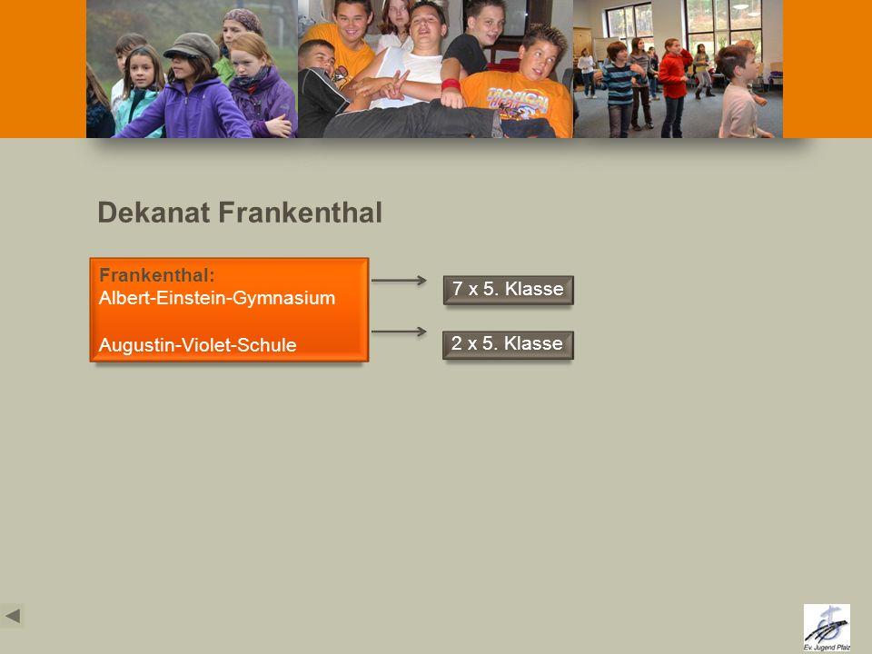 Dekanat Frankenthal Frankenthal: Albert-Einstein-Gymnasium Augustin-Violet-Schule 7 x 5. Klasse 2 x 5. Klasse