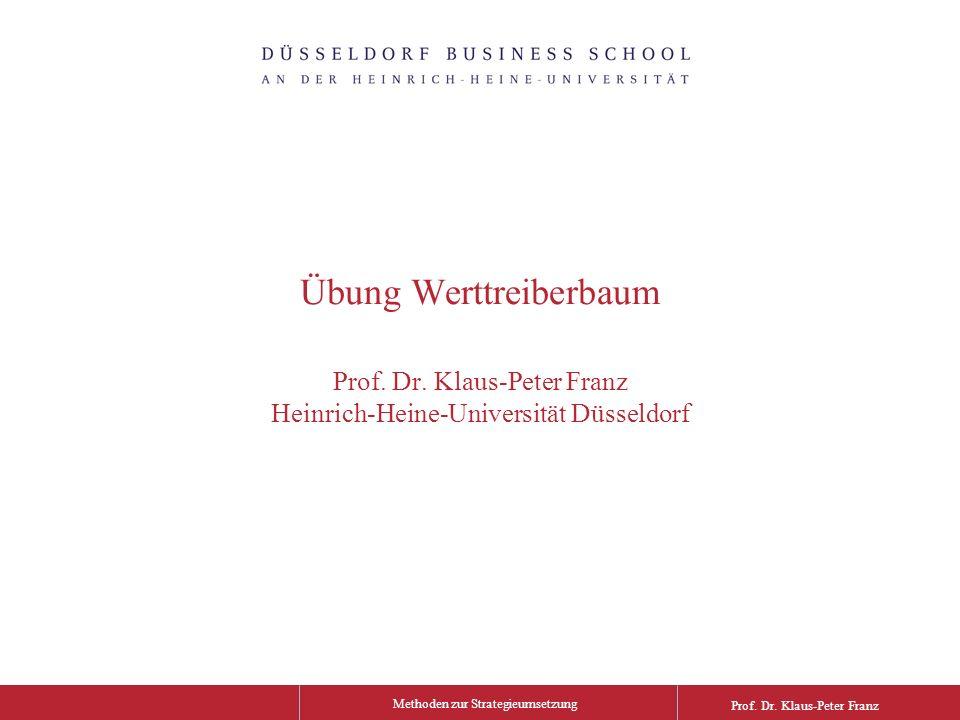 Methoden zur Strategieumsetzung Prof. Dr. Klaus-Peter Franz Übung Werttreiberbaum Prof.