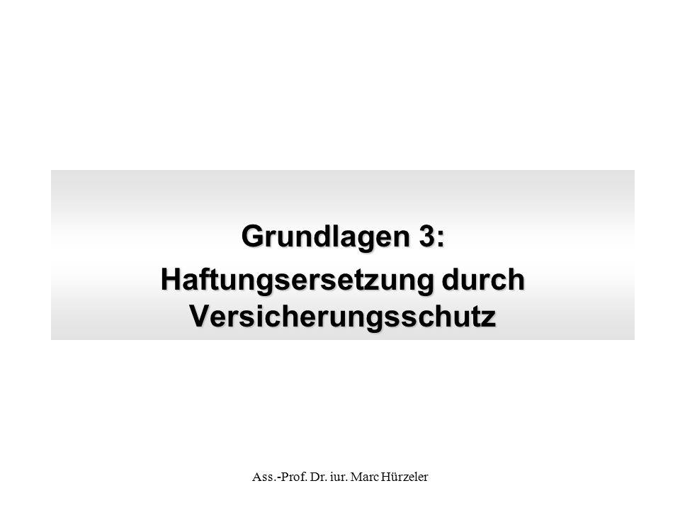 Grundlagen 3: Haftungsersetzung durch Versicherungsschutz Ass.-Prof. Dr. iur. Marc Hürzeler
