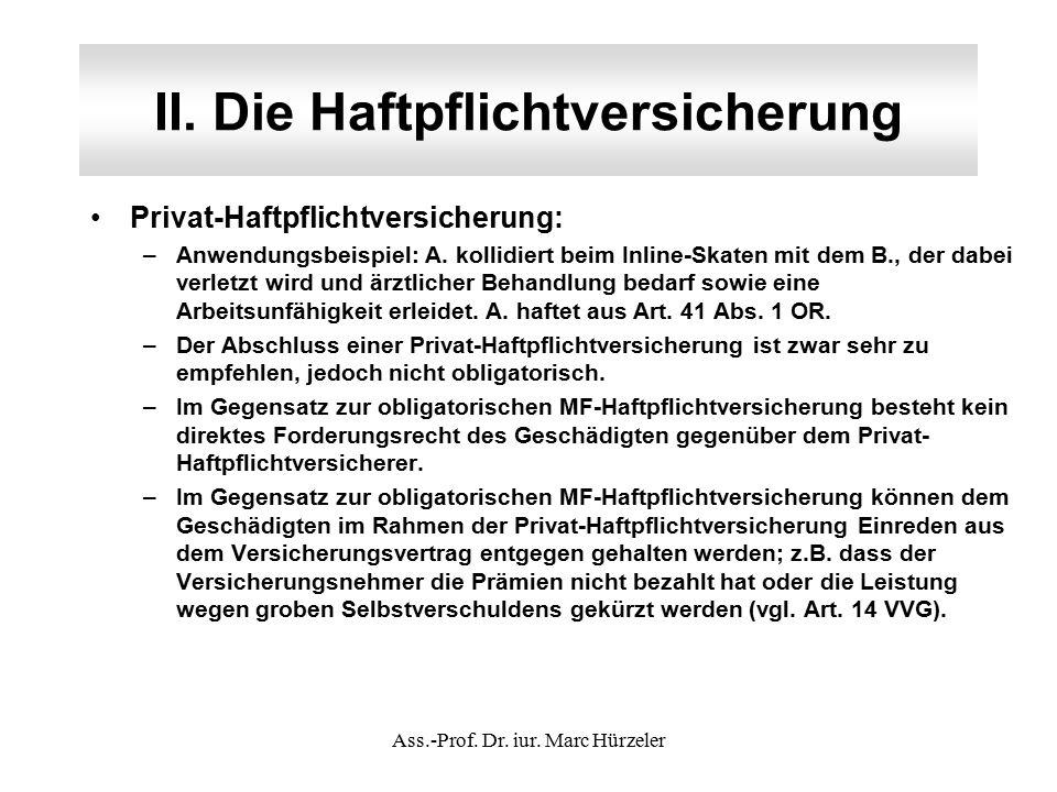 II. Die Haftpflichtversicherung Privat-Haftpflichtversicherung: –Anwendungsbeispiel: A.