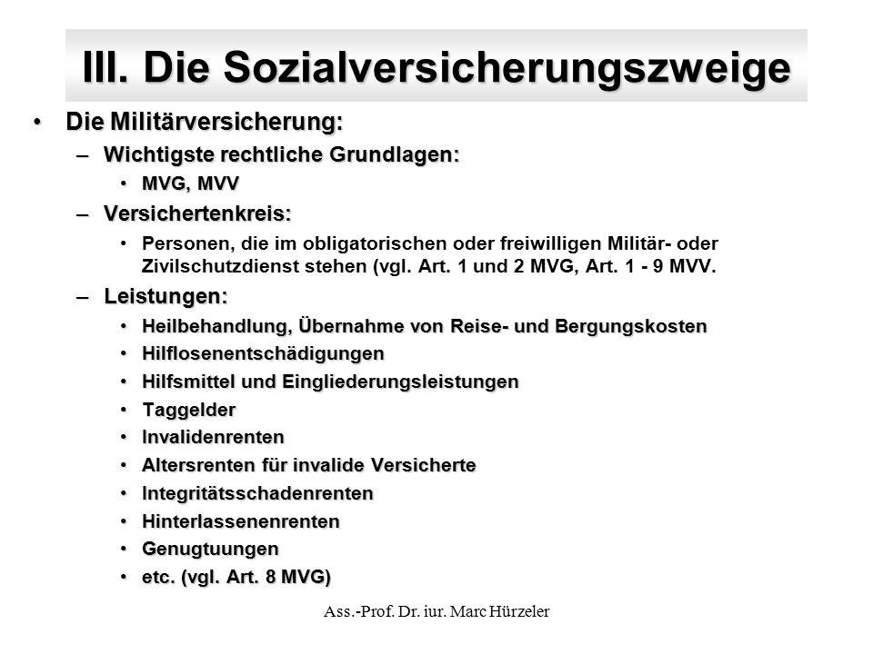III. Die Sozialversicherungszweige Die Militärversicherung:Die Militärversicherung: –Wichtigste rechtliche Grundlagen: MVG, MVVMVG, MVV –Versichertenk
