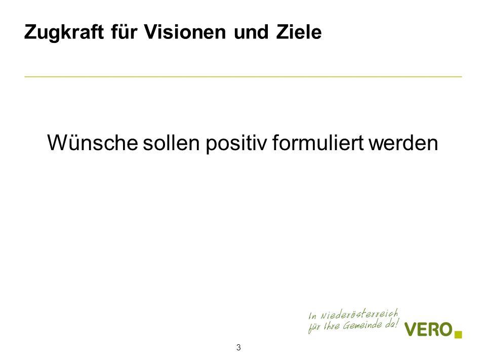 Zugkraft für Visionen und Ziele 3 Wünsche sollen positiv formuliert werden