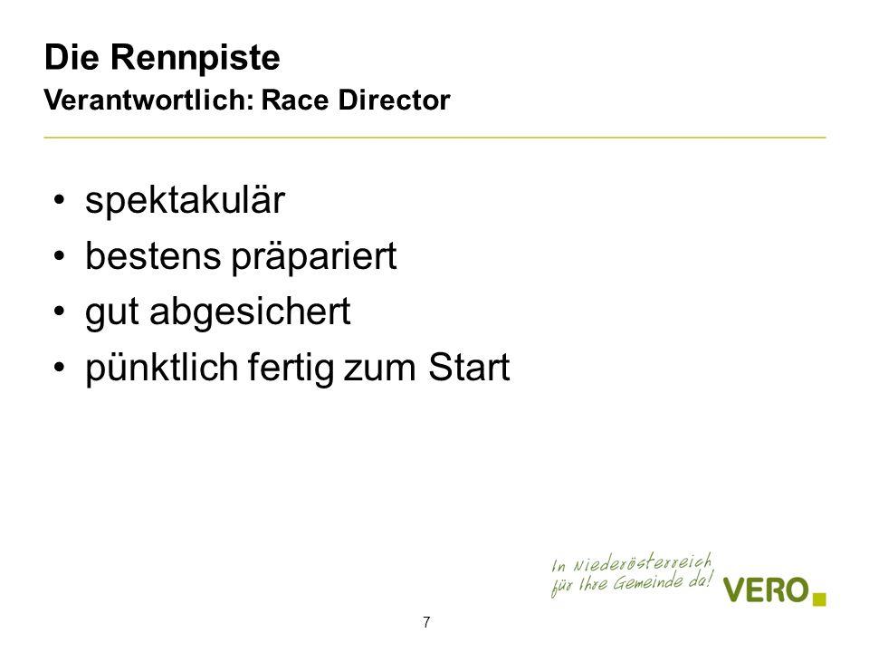 Die Rennpiste Verantwortlich: Race Director 7 spektakulär bestens präpariert gut abgesichert pünktlich fertig zum Start