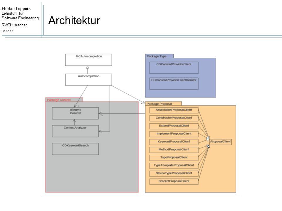 Florian Leppers Lehrstuhl für Software Engineering RWTH Aachen Seite 17 Architektur