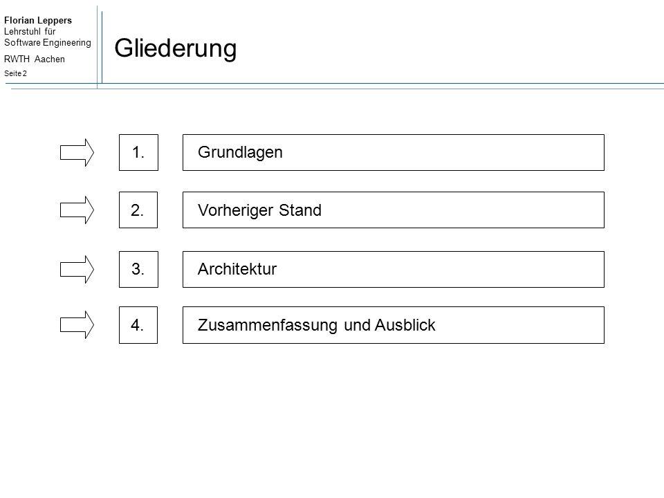 Florian Leppers Lehrstuhl für Software Engineering RWTH Aachen Seite 3 Gliederung 2.