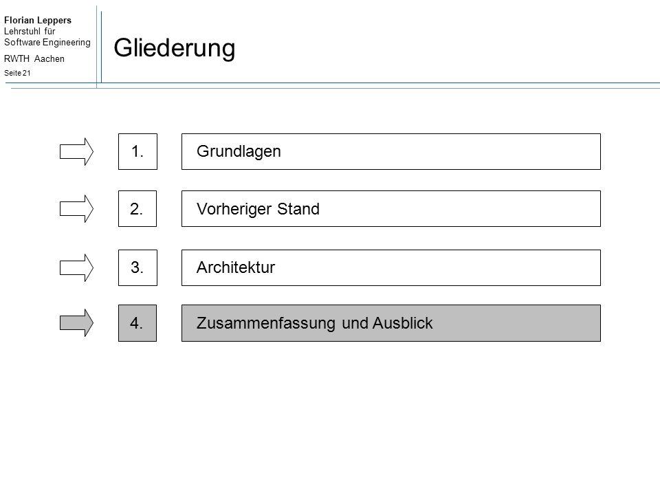 Florian Leppers Lehrstuhl für Software Engineering RWTH Aachen Seite 21 Gliederung 2.