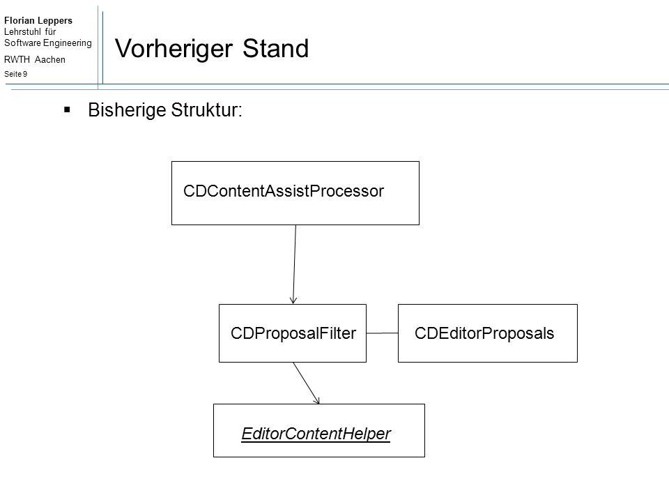 Florian Leppers Lehrstuhl für Software Engineering RWTH Aachen Seite 20 Architektur  CDKeywordSearch: Enthält Funktionen zur textuellen Analyse  ProposalClients: Enthalten die Logik zum Generieren der Vorschläge und Templates Können sich für mehrere Kontexte registrieren Auf einen Kontext können auch mehrere ProposalClients registriert sein Für einen Kontext können Vorschläge und Templates generiert werden.