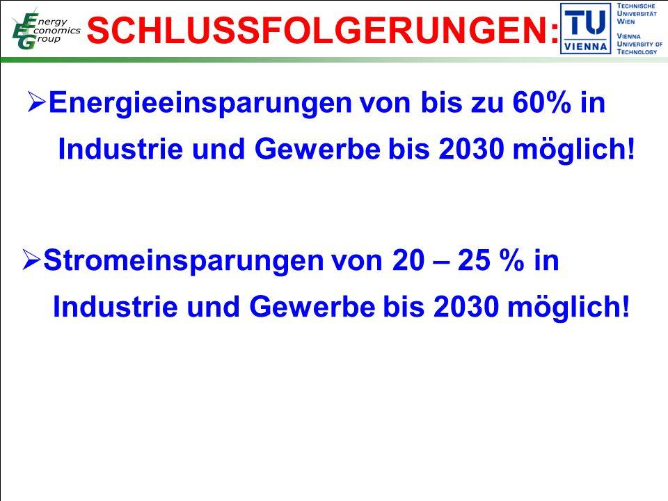SCHLUSSFOLGERUNGEN:  Energieeinsparungen von bis zu 60% in Industrie und Gewerbe bis 2030 möglich.