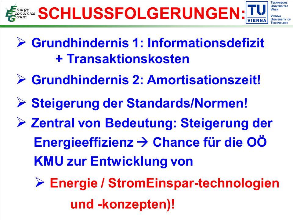 SCHLUSSFOLGERUNGEN:  Grundhindernis 1: Informationsdefizit + Transaktionskosten  Grundhindernis 2: Amortisationszeit.