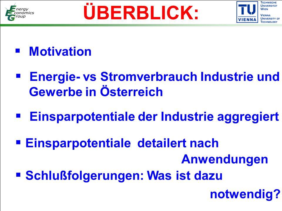 ÜBERBLICK:  Motivation  Energie- vs Stromverbrauch Industrie und Gewerbe in Österreich  Einsparpotentiale detailert nach Anwendungen  Einsparpotentiale der Industrie aggregiert  Schlußfolgerungen: Was ist dazu notwendig