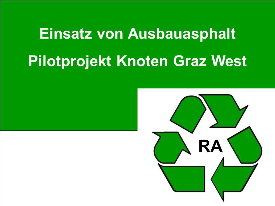Verwendung von Ausbauasphalt – ein Erfahrungsbericht M.Weixlbaum Einsatz von Ausbauasphalt Pilotprojekt Knoten Graz West RA