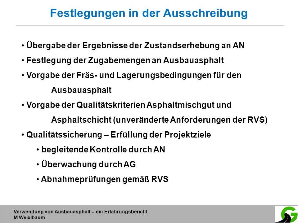 Verwendung von Ausbauasphalt – ein Erfahrungsbericht M.Weixlbaum Festlegungen in der Ausschreibung Übergabe der Ergebnisse der Zustandserhebung an AN