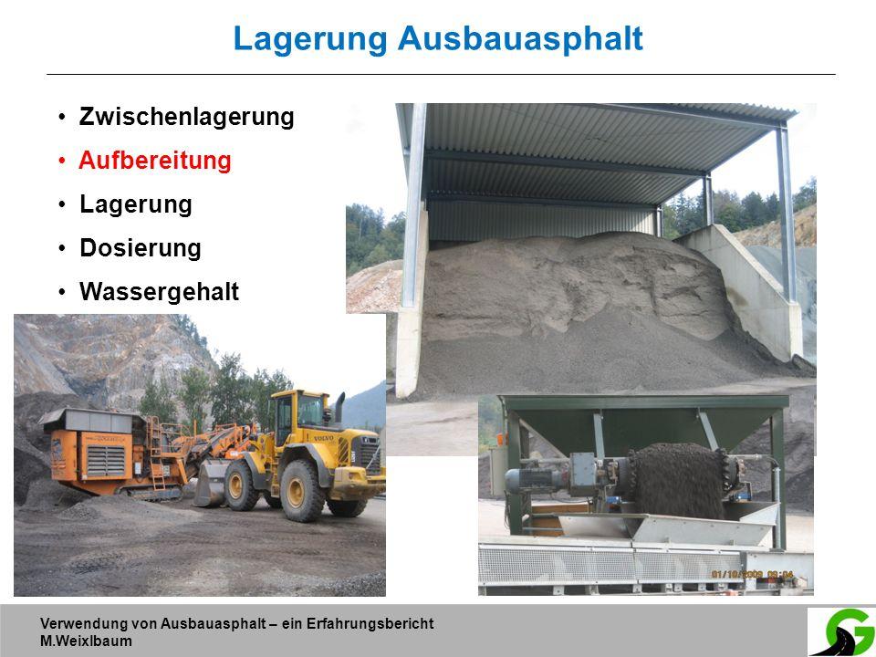 Verwendung von Ausbauasphalt – ein Erfahrungsbericht M.Weixlbaum Lagerung Ausbauasphalt Zwischenlagerung Aufbereitung Lagerung Dosierung Wassergehalt