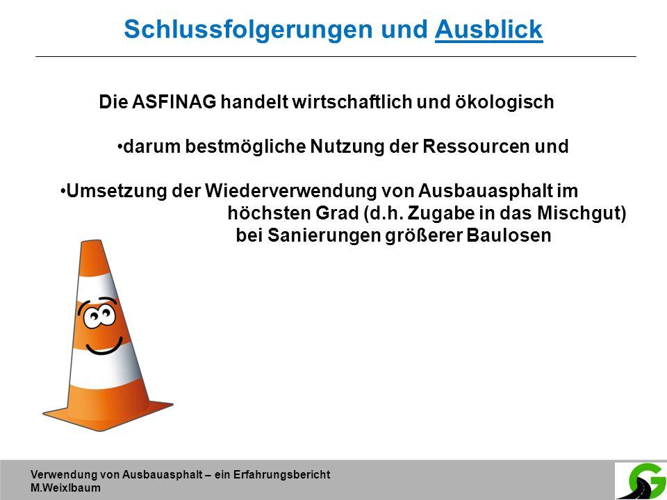 Verwendung von Ausbauasphalt – ein Erfahrungsbericht M.Weixlbaum Schlussfolgerungen und Ausblick Die ASFINAG handelt wirtschaftlich und ökologisch dar