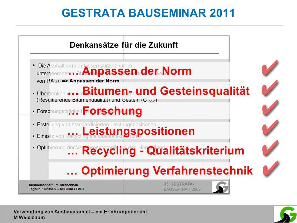 Verwendung von Ausbauasphalt – ein Erfahrungsbericht M.Weixlbaum GESTRATA BAUSEMINAR 2011 … Anpassen der Norm … Bitumen- und Gesteinsqualität … Forsch