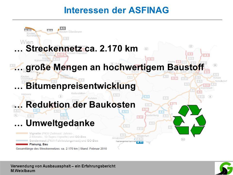 Verwendung von Ausbauasphalt – ein Erfahrungsbericht M.Weixlbaum Interessen der ASFINAG … Streckennetz ca. 2.170 km … große Mengen an hochwertigem Bau