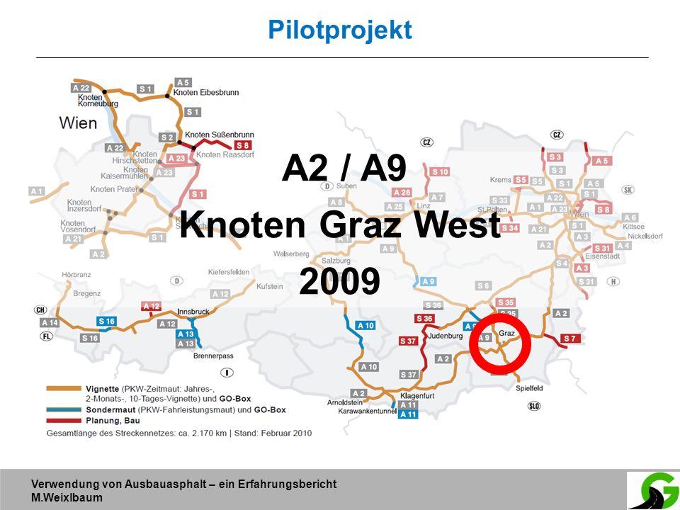 Verwendung von Ausbauasphalt – ein Erfahrungsbericht M.Weixlbaum Pilotprojekt A2 / A9 Knoten Graz West 2009