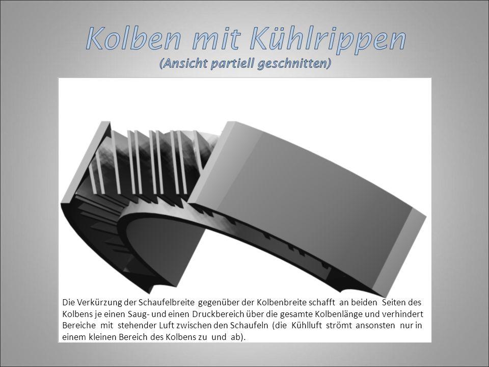 Die Verkürzung der Schaufelbreite gegenüber der Kolbenbreite schafft an beiden Seiten des Kolbens je einen Saug- und einen Druckbereich über die gesam