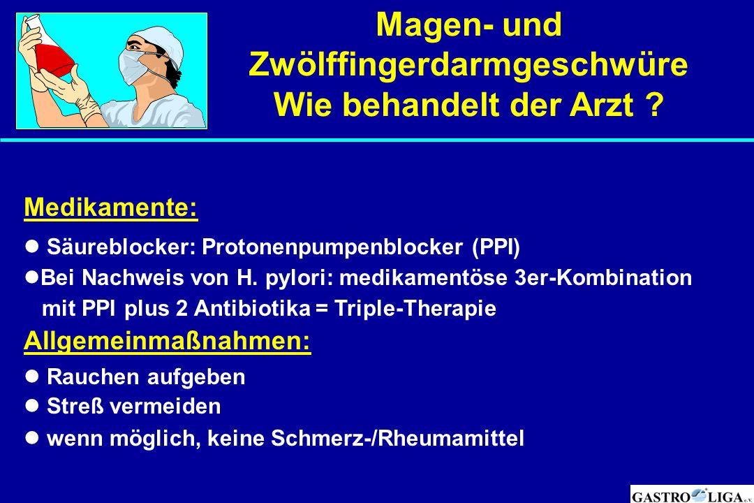 Magen- und Zwölffingerdarmgeschwüre Wie behandelt der Arzt ? Medikamente: Säureblocker: Protonenpumpenblocker (PPI) Bei Nachweis von H. pylori: medika
