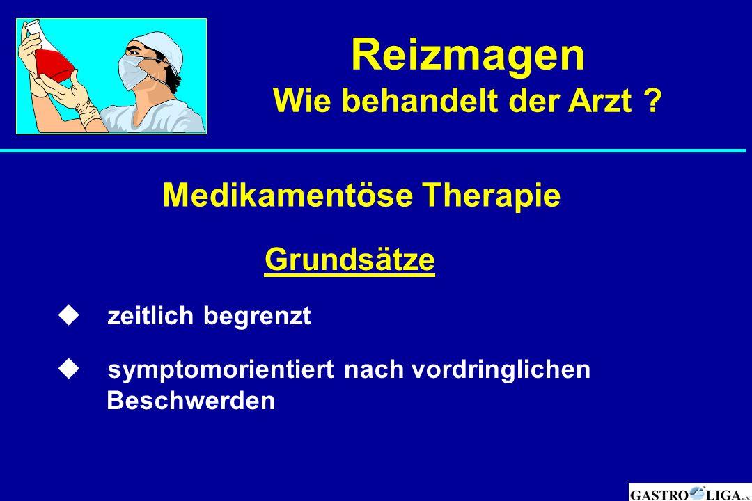  Grundsätze  zeitlich begrenzt  symptomorientiert nach vordringlichen Beschwerden Medikamentöse Therapie Reizmagen Wie behandelt der Arzt