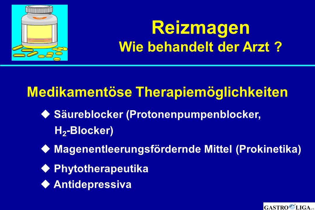 Medikamentöse Therapiemöglichkeiten  Säureblocker (Protonenpumpenblocker, H 2 -Blocker)  Magenentleerungsfördernde Mittel (Prokinetika)  Phytothera