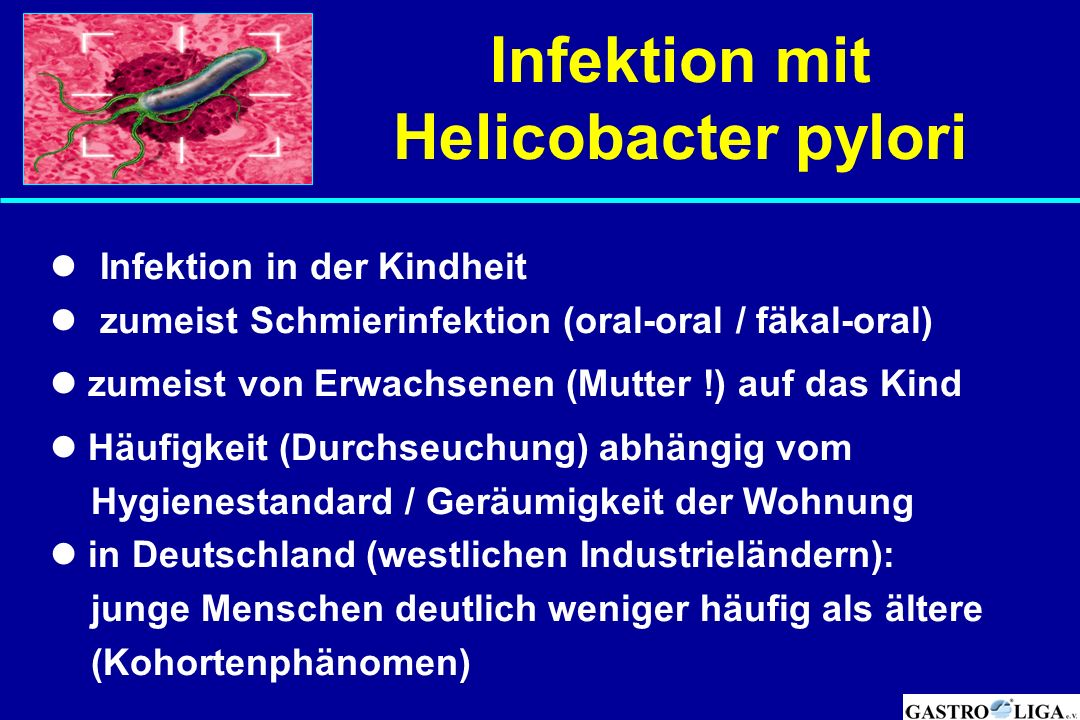Infektion mit Helicobacter pylori Infektion in der Kindheit zumeist Schmierinfektion (oral-oral / fäkal-oral) zumeist von Erwachsenen (Mutter !) auf d