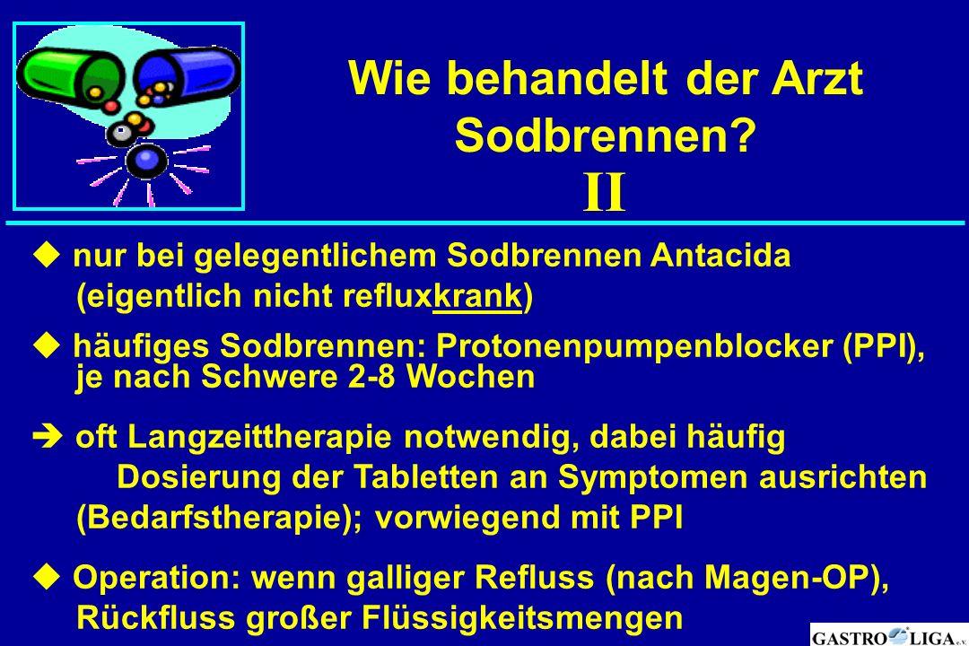 Wie behandelt der Arzt Sodbrennen?  nur bei gelegentlichem Sodbrennen Antacida (eigentlich nicht refluxkrank)  häufiges Sodbrennen: Protonenpumpenbl