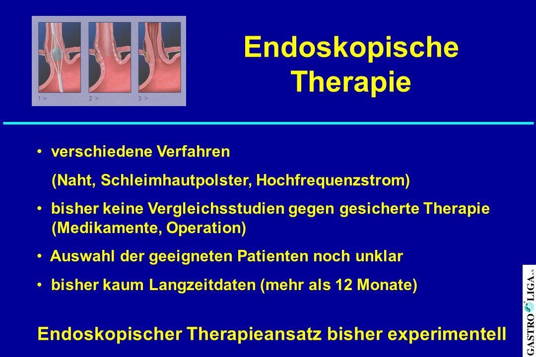 Endoskopische Therapie verschiedene Verfahren (Naht, Schleimhautpolster, Hochfrequenzstrom) bisher keine Vergleichsstudien gegen gesicherte Therapie (