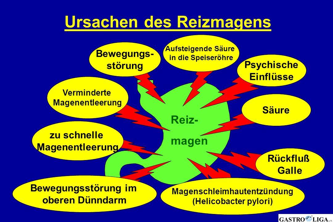 Ursachen des Reizmagens Psychische Einflüsse Säure Rückfluß Galle Magenschleimhautentzündung (Helicobacter pylori) Bewegungsstörung im oberen Dünndarm