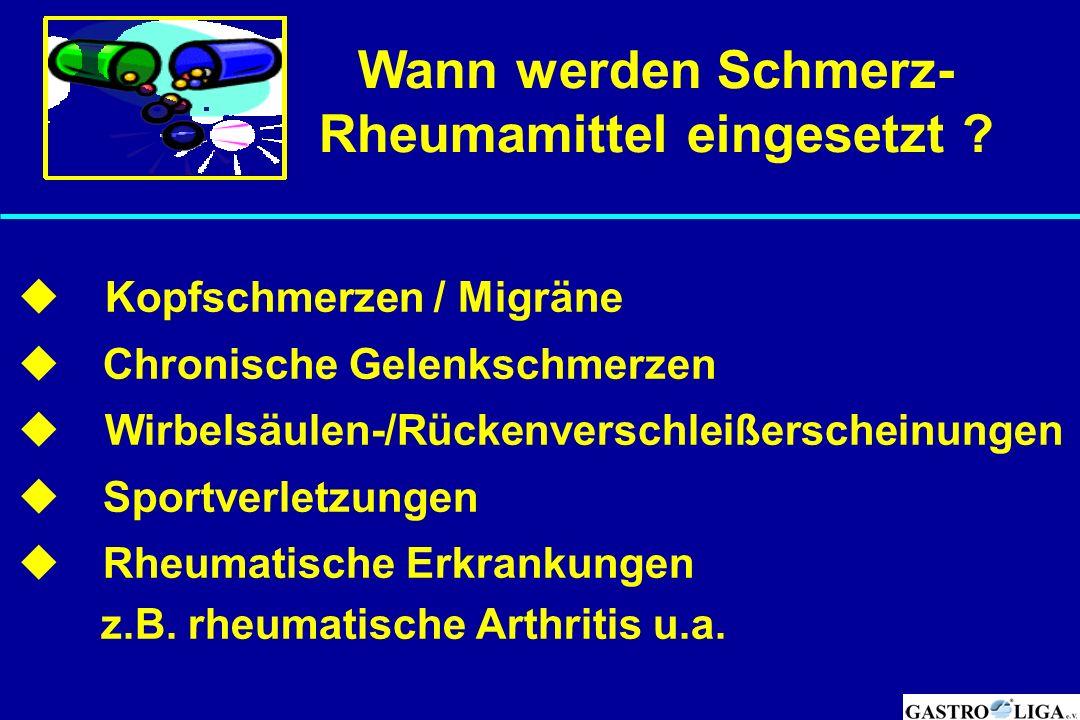 Wann werden Schmerz- Rheumamittel eingesetzt ?  Kopfschmerzen / Migräne  Chronische Gelenkschmerzen  Wirbelsäulen-/Rückenverschleißerscheinungen