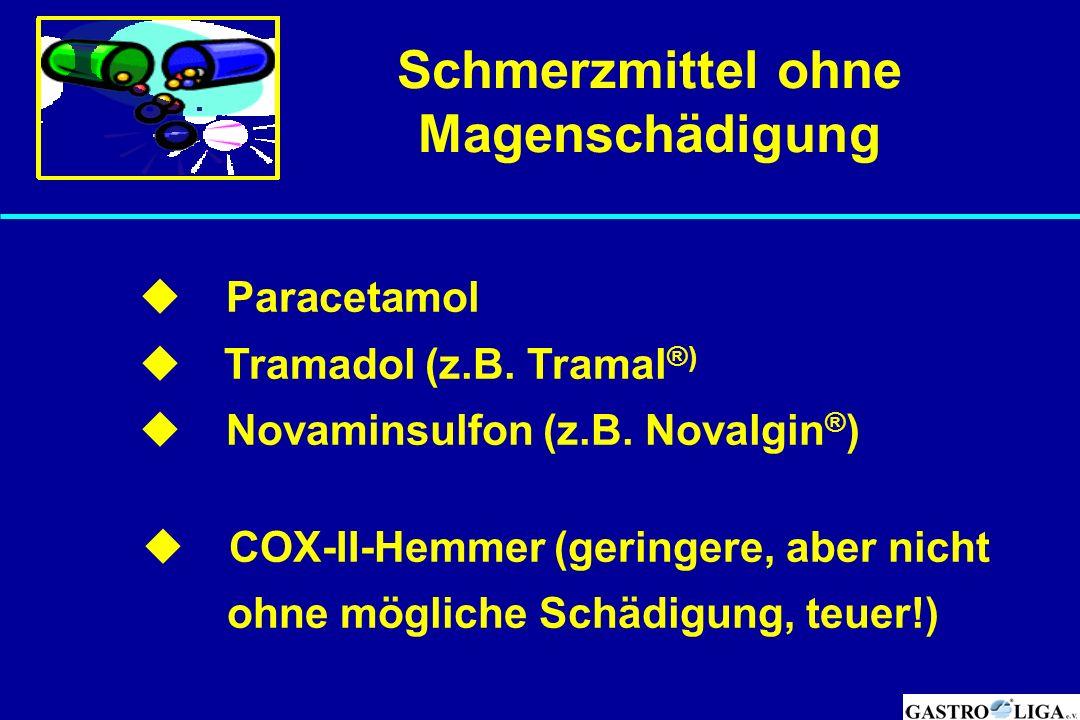 Schmerzmittel ohne Magenschädigung  Paracetamol  Tramadol (z.B. Tramal ®)  Novaminsulfon (z.B. Novalgin ® )  COX-II-Hemmer (geringere