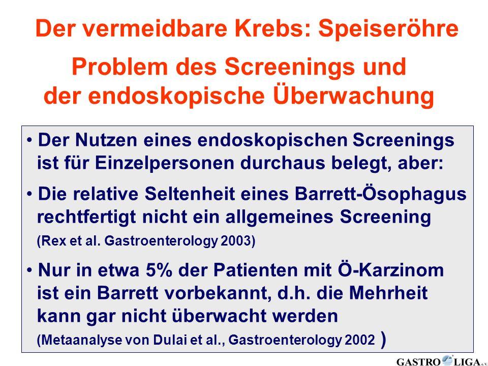 Der vermeidbare Krebs: Speiseröhre Problem des Screenings und der endoskopische Überwachung Der Nutzen eines endoskopischen Screenings ist für Einzelp