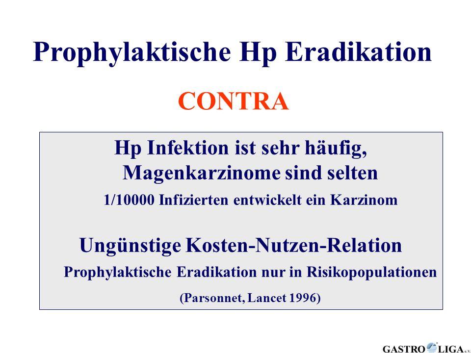 Prophylaktische Hp Eradikation CONTRA Hp Infektion ist sehr häufig, Magenkarzinome sind selten 1/10000 Infizierten entwickelt ein Karzinom Ungünstige