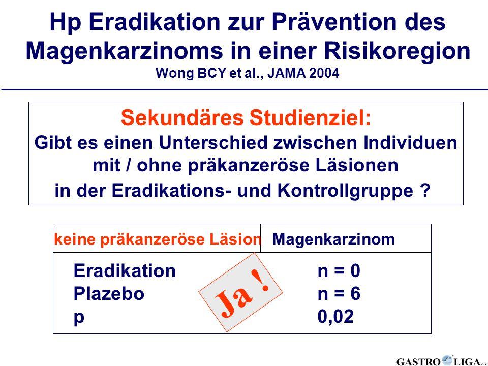 Sekundäres Studienziel: Gibt es einen Unterschied zwischen Individuen mit / ohne präkanzeröse Läsionen in der Eradikations- und Kontrollgruppe ? Magen