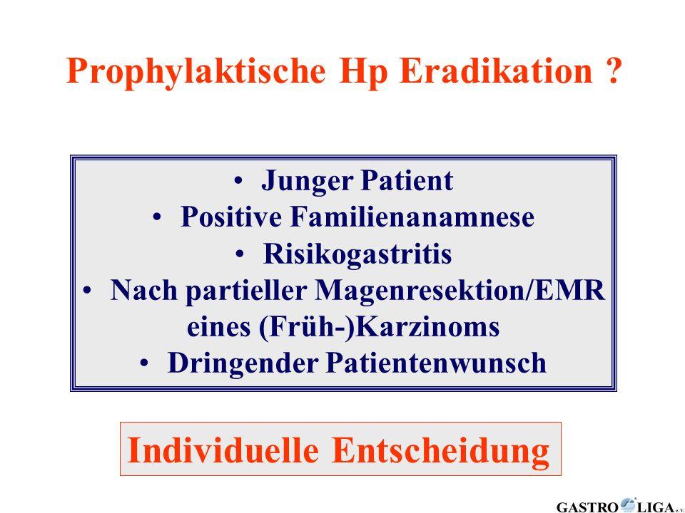 Prophylaktische Hp Eradikation ? Junger Patient Positive Familienanamnese Risikogastritis Nach partieller Magenresektion/EMR eines (Früh-)Karzinoms Dr