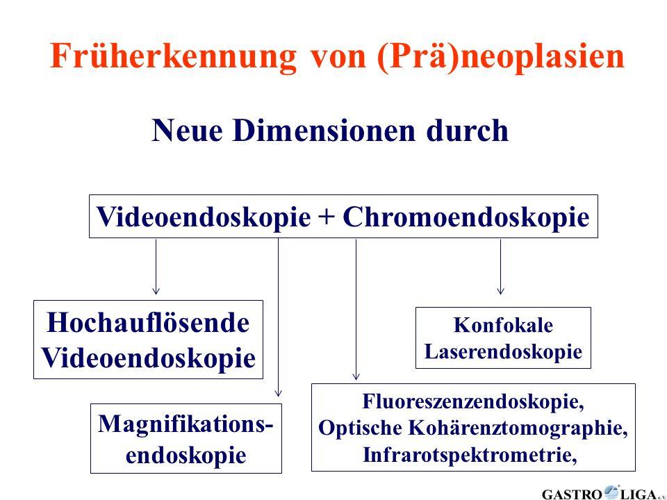 Früherkennung von (Prä)neoplasien Neue Dimensionen durch Videoendoskopie + Chromoendoskopie Hochauflösende Videoendoskopie Konfokale Laserendoskopie M