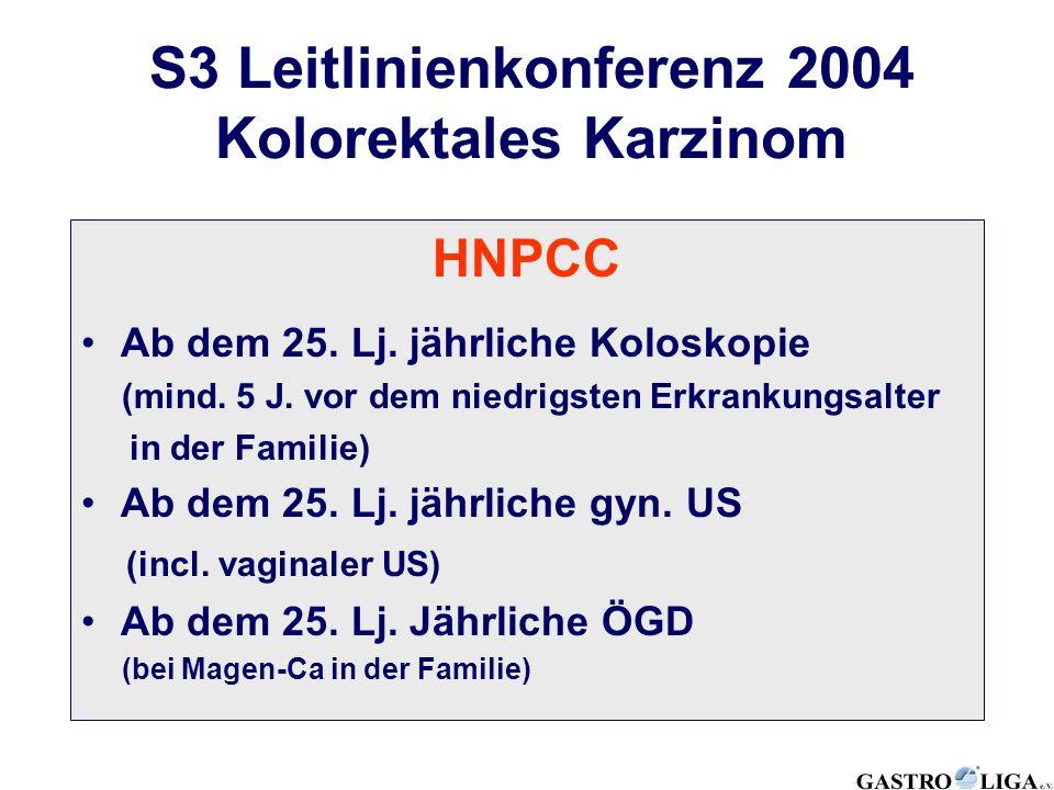 HNPCC Ab dem 25. Lj. jährliche Koloskopie (mind. 5 J. vor dem niedrigsten Erkrankungsalter in der Familie) Ab dem 25. Lj. jährliche gyn. US (incl. vag